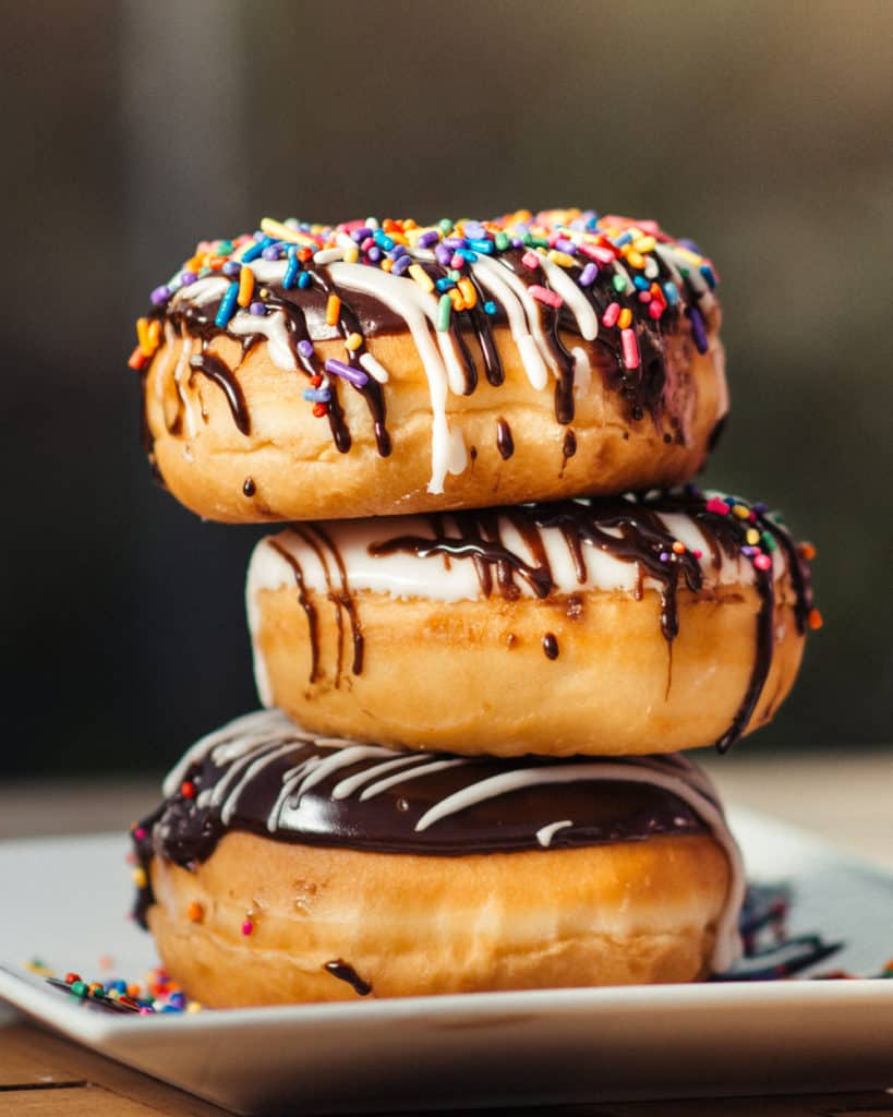 Stack of delicious donuts