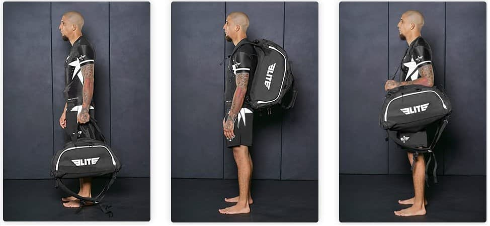 Hybrid carry option for training gym bags for MMA