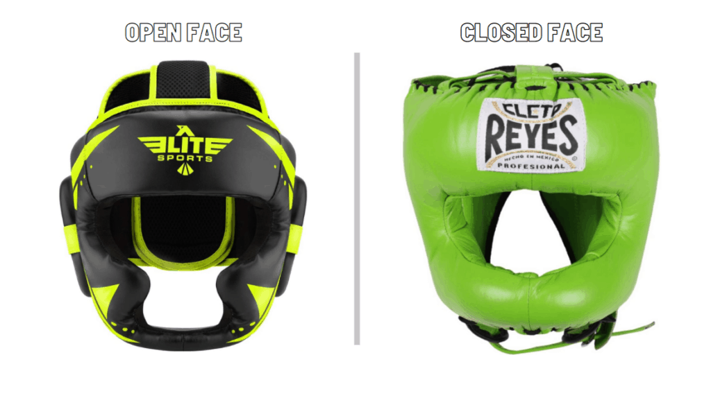 Open face compared to closed face headgear for boxing and MMA
